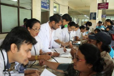 Final year students and Nursing staff busy in Health Camp