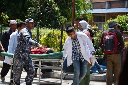 Victim being taken in for Patan Hospital for medical treatment