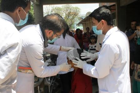 Victims getting primary medical treatment at Patan Hospital