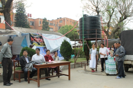 Outdoor OPD operation at Patan Hospital during disaster