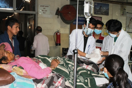 Earthquake disaster victims getting medical treatment at Patan Hospital