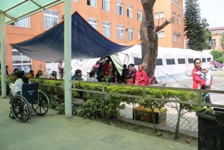 OPD service from tent hospital set at Patan Hospital