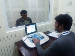 VC Prof. Bharat K. Yadav inaugarating the newly established Hearing & Speech unit by doing his own hearing assessment