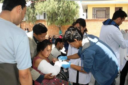Victims getting primary treatment at Patan Hospital