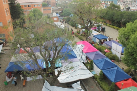 Tent hospital at Patan hospital to treat disaster victims