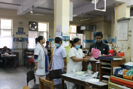 Patan Hospital Triage Area busy after disaster