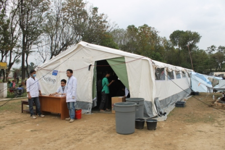 Field Hospital set by Patan Hospital at Buddhi Bikash Ground to serve earthquake disaster victims