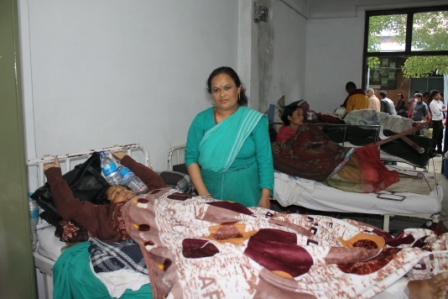 Housekeeping staff Ms Ganga Maya Budhathoki who was injured when a wall collapsed on the way to duty