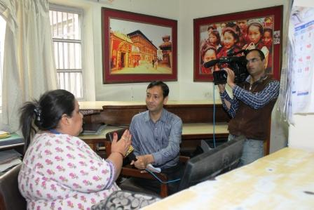 Vice Chancellor Prof. Sangita Bhandary giving an interview on disaster management at Patan Hospital