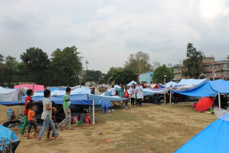 Students miking for awareness to prevent possible outbreak of epidemics after disaster